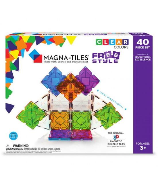 Set Magna-Tiles Freestyle - 40 piese magnetice de construcție cu magneți mobili