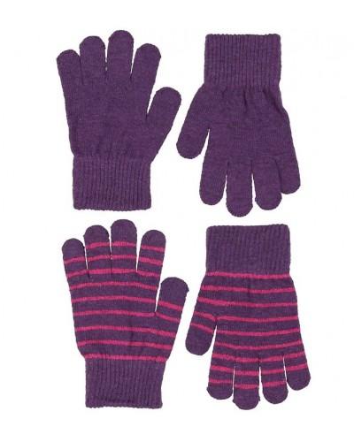 Set de 2 perechi de mănuși tricotate din lână Merino CeLaVi Purple pentru copii