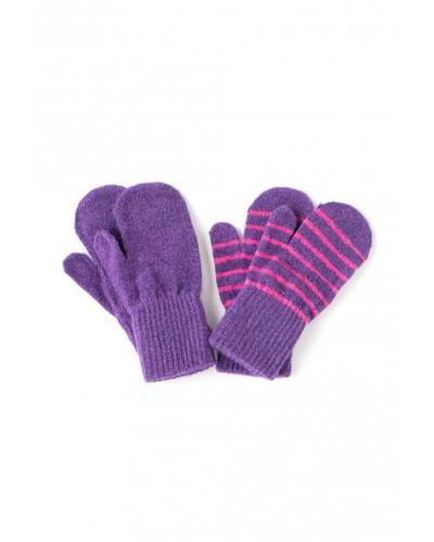 Set de 2 perechi de mănuși tricotate din lână Merino CeLaVi Purple pentru bebeluși - cu un deget