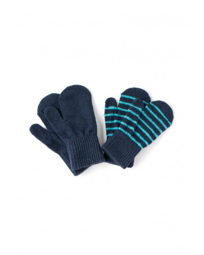 Set de 2 perechi de mănuși tricotate din lână Merino CeLaVi Dark Navy pentru bebeluși - cu un deget
