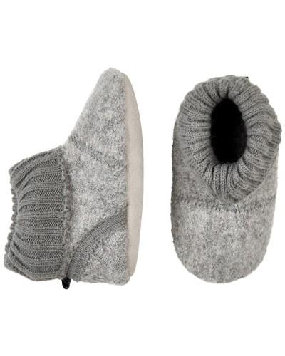 Botoșei CeLaVi gri din lână, cu talpă de piele și manșetă elastică