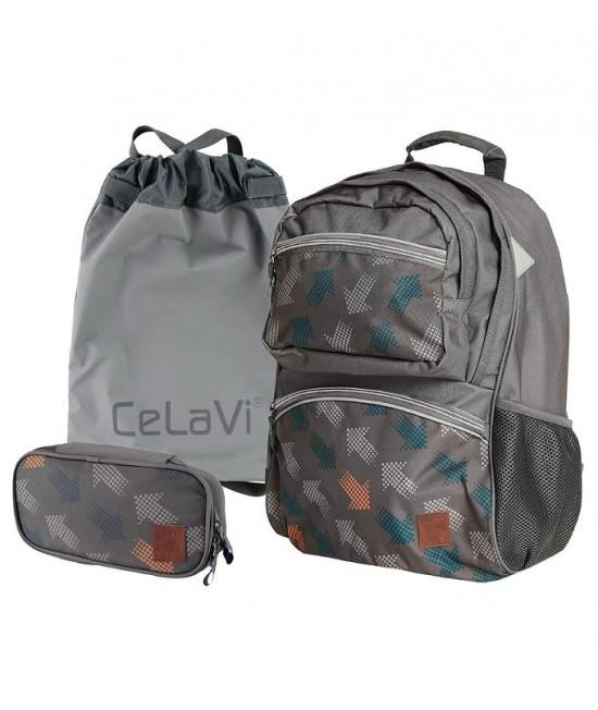 Ghiozdan ergonomic gri CeLaVi pentru școală (cu penar și sac de sport incluse)