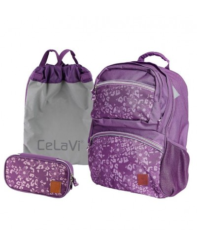 Ghiozdan ergonomic mov CeLaVi pentru școală (cu penar și sac de sport incluse)