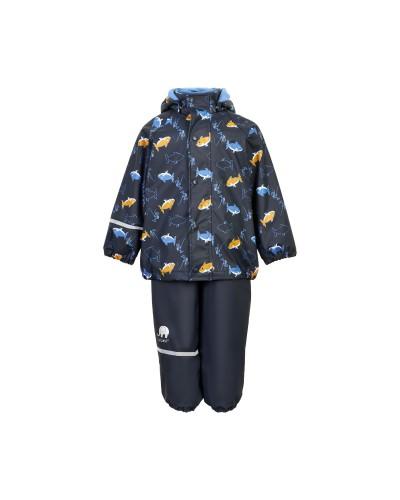 Set de ploaie și vânt CeLaVi jachetă+pantaloni/salopetă impermeabile căptușite bleumarin