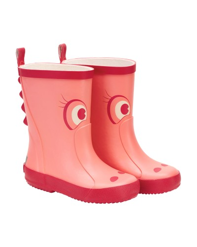 Cizme CeLaVi din cauciuc natural pentru copii - Lantana - Crocodil roz cu ochi