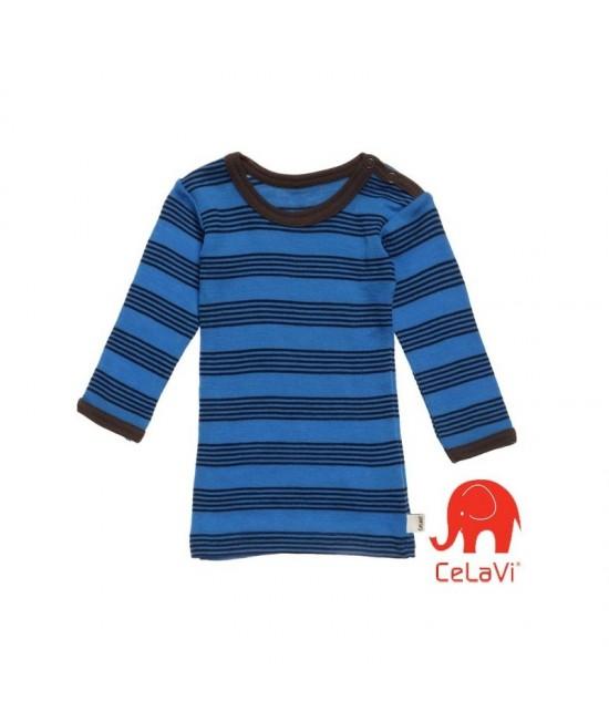 Bluză de corp din lână Merinos CeLaVi - albastru cu dungi