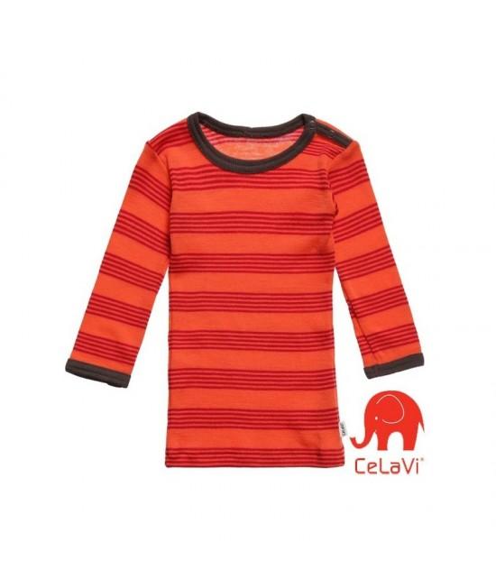 Bluză de corp din lână Merinos CeLaVi - corai cu dungi