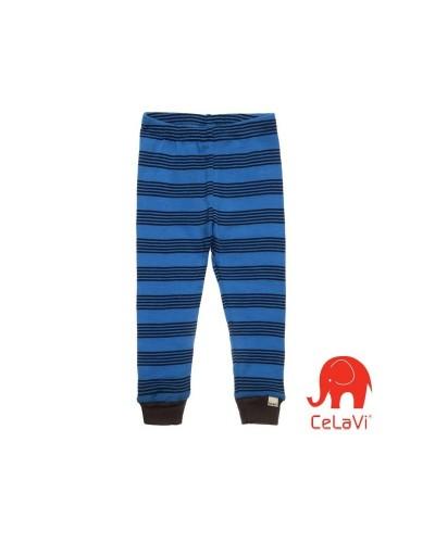 Pantaloni din lână Merinos CeLaVi - albastru cu dungi