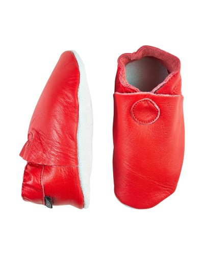 Papucei din piele cu talpă moale căptușiți CeLaVi Roșii - ideali pentru primii pași