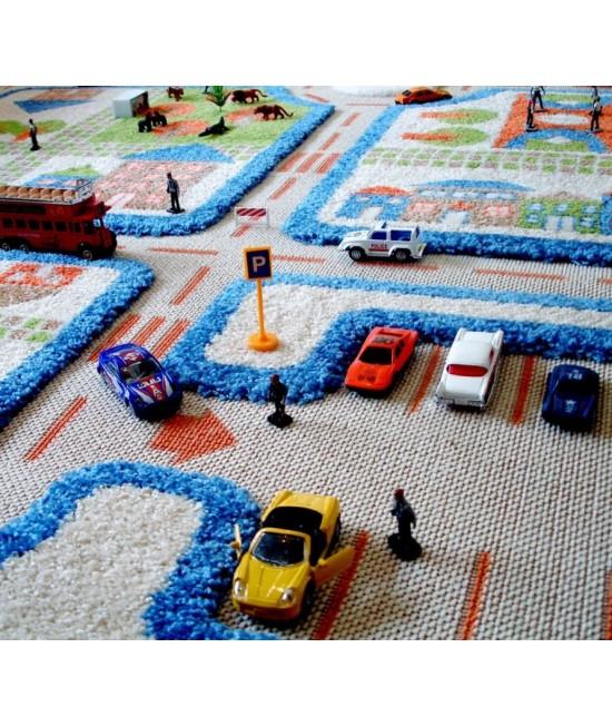 Covor de joacă pentru copii 3D - IVI Blue Town Traffic 134 x 180