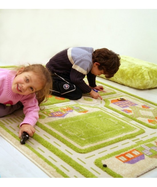 Covor de joacă pentru copii 3D - IVI Green Town Traffic 134 x 180