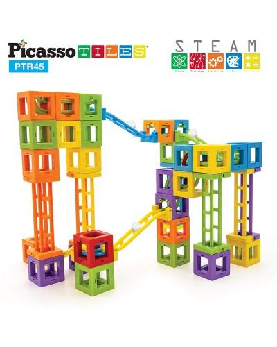 Set PicassoTiles Roller Coaster - 45 blocuri magnetice 3D de construcție