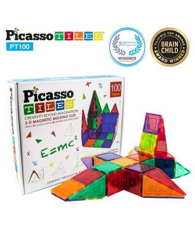 Set PicassoTiles - 100 piese magnetice de construcție colorate