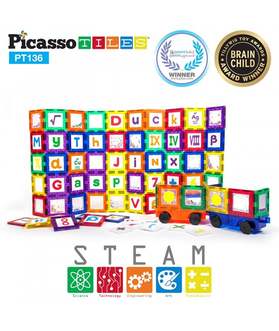 Set PicassoTiles Deluxe Combo Clip-in Extension - 136 piese magnetice de construcție colorate