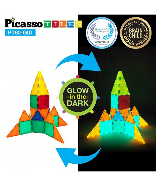 Set PicassoTiles Fosforescente (GLOW in the Dark) - 60 piese magnetice de construcție colorate