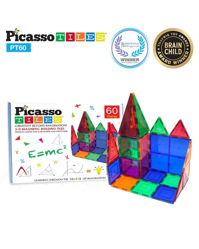 Set PicassoTiles - 60 piese magnetice de construcție colorate