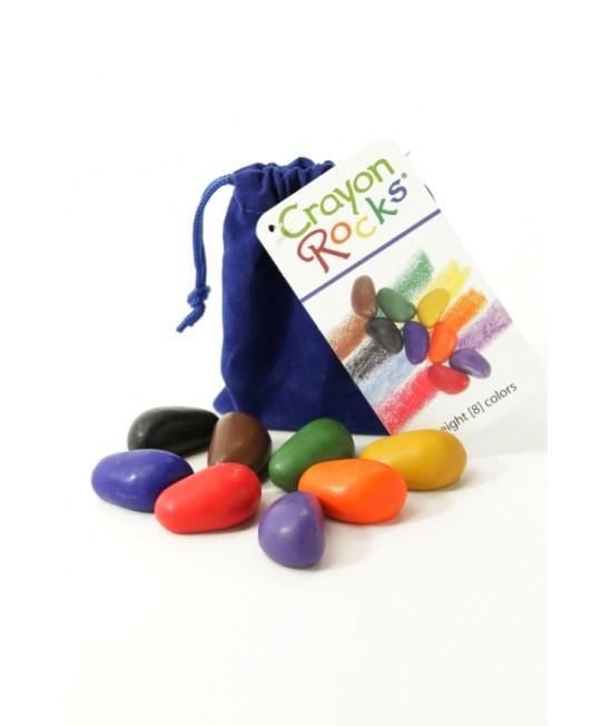 8 creioane Crayon Rocks naturale în culorile primare - în săculeț de catifea albastră