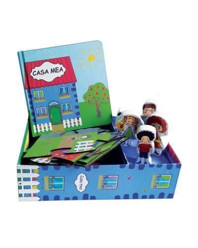 Casa mea - Set carte + puzzle + jucării figurine din lemn