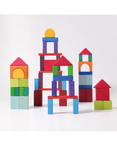 60 Cuburi cu forme geometrice colorate Grimm's din lemn de tei vopsit non-toxic