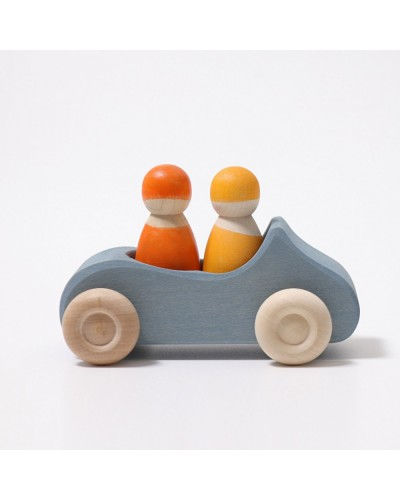 Mașinuță dublă albastră Grimm's din lemn de tei vopsit non-toxic