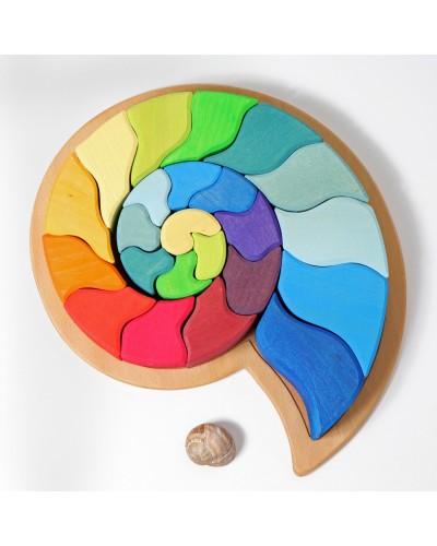 Melc - Puzzle senzorial și creativ din lemn colorat ecologic GRIMMS Spiel und Holz Design