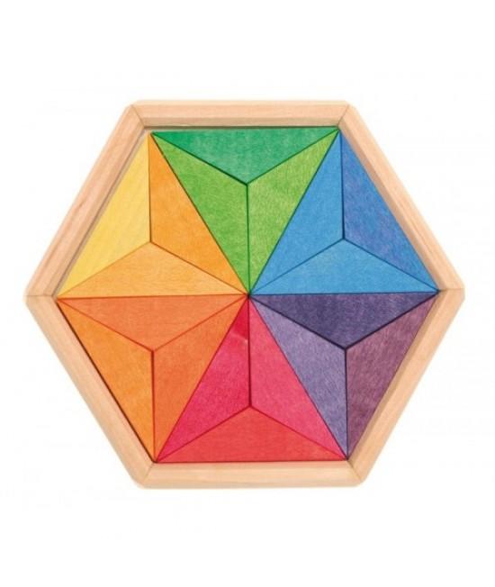 Steluța culorilor complementare a lui Goethe - puzzle creativ din lemn vopsit natural Grimm's Spiel und Holz Design
