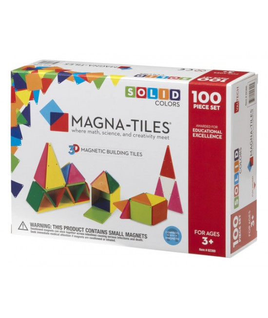 Set Magna-Tiles - 100 piese magnetice de construcție colorate