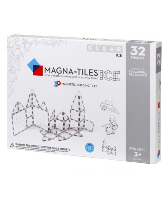 Set Magna-Tiles - 32 piese magnetice de construcție transparente (ICE)