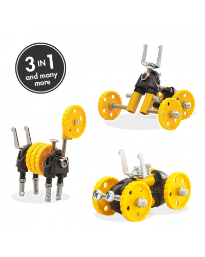 BlazeBit - 3 în 1 Yellow Vehicle Kit The OFFBITS - set de construit cu șuruburi și piulițe