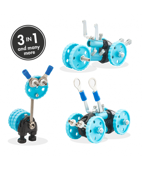 GearBit - 3 în 1 Blue Vehicle Kit The OFFBITS - set de construit cu șuruburi și piulițe