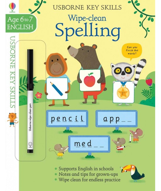 Wipe-clean Spelling 6-7 years - Usborne Key Skills