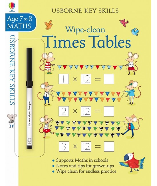 Wipe-clean Times Tables 7-8 years - Usborne Key Skills
